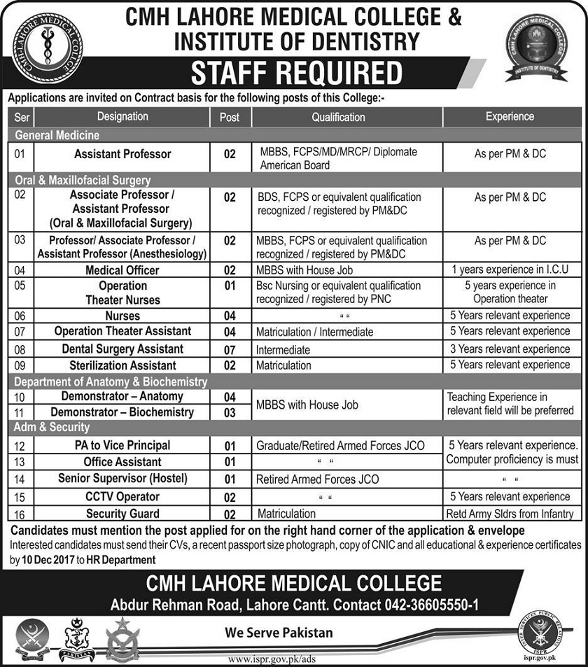 Combined Military Hospital Jobs 2017, Medical Jobs in Lahore, Lahore Jobs, Jobs in Punjab, Jobs for Doctors, Jobs for Medical Officers,Jobs for Medical Technicians