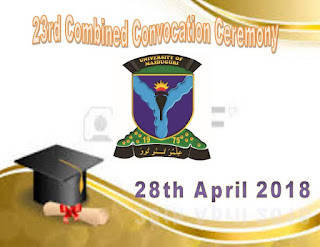 UNIMAID 23rd Combined Convocation Ceremonies Order of Events - 2017/2018