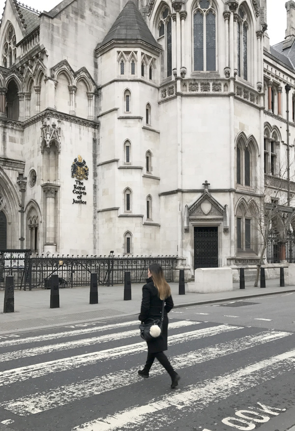 In front of the Palace of justice in London