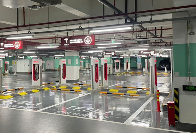 Tesla opens world's largest 72-rack electric vehicle charging station in Shanghai
