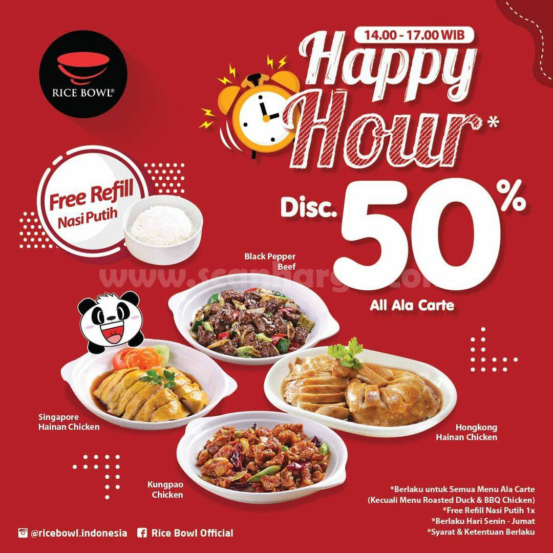 Promo RICE BOWL HAPPY HOUR - DISKON 50% untuk Menu Ala Carte