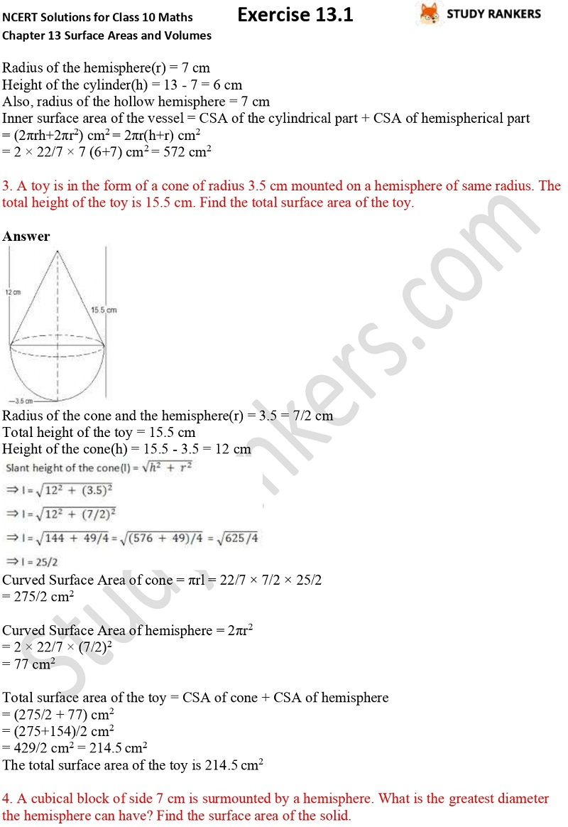 NCERT Solutions for Class 10 Maths Chapter 13 Surface Areas and Volumes Exercise 13.1 Part 2