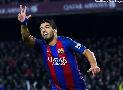 عدد اهداف سواريز مع برشلونة