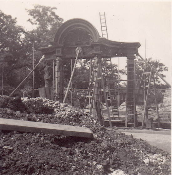 The wood porch that survived the fire at Queenswood School Image from the Peter Miller collection