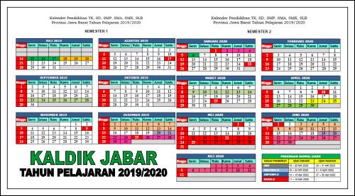 Kalender Pendidikan Provinsi Jawa Barat Tahun Pelajaran 2019 2020
