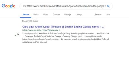 Cara agar Artikel Cepat Terindex di Search Engine Google hanya 1 Menit