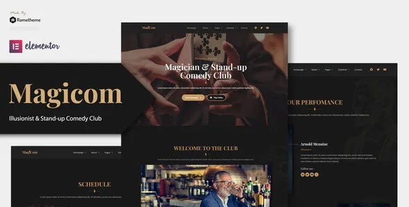 Best Magician and Comedian Club Elementor Template Kit