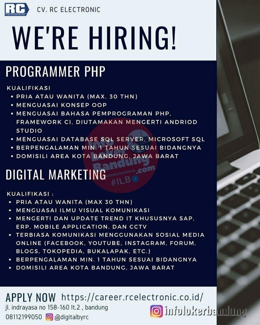Lowongan Kerja CV. RC Electronic Bandung Januari 2021