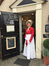 Rachel outside the Stur of the Moment tearooms  in Sturminster Newton, Dorset