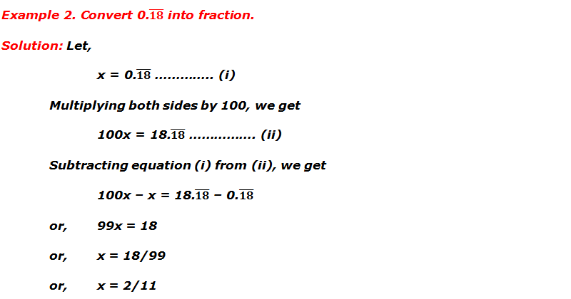 Example 2. Convert 0.181818... into fraction.
