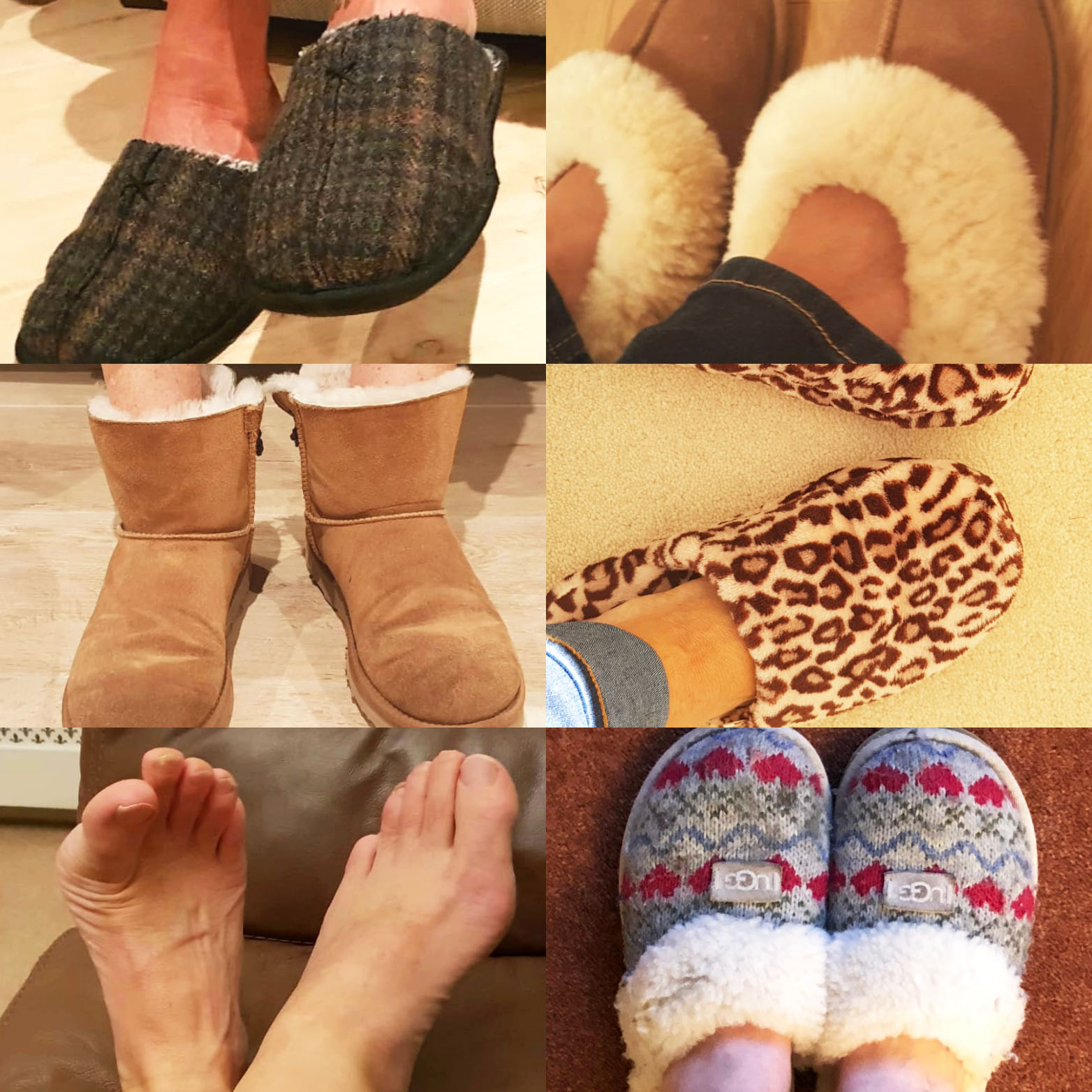 Several different pairs of feet in slippers for indoors