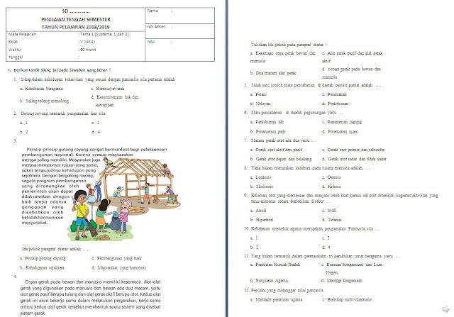 Soal UTS kelas 5 SD/MI Tema 1 Subtema 1-2