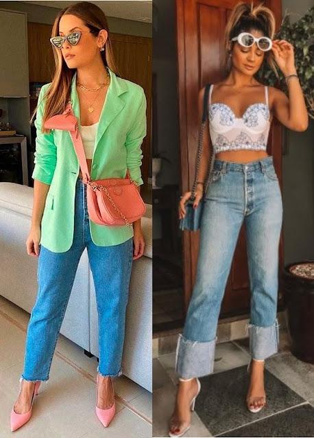 Calças tendência 2021, calça jeans reta, Bianca Dacia, Thássia Naves