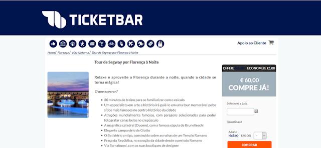 Ticketbar para ingressos para o tour de Segway por Florença a noite