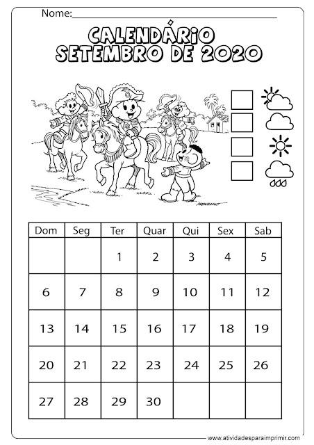 Calendário setembro 2020