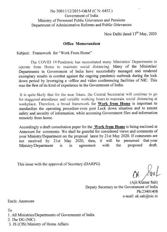 DOPT order regarding framework for Work From Home
