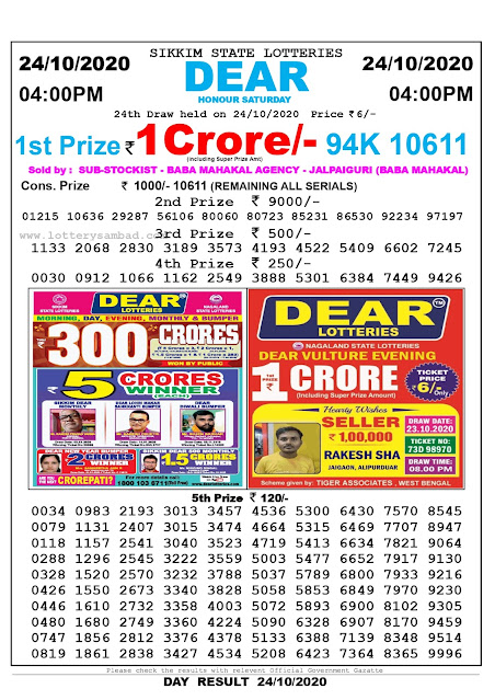 Lottery Sambad 24-10-2020 Today Results 4:00 pm, Sikkim State Lottery Sambad Today Result 4 pm, Sambad Lottery, Lottery Sambad Live Result Today