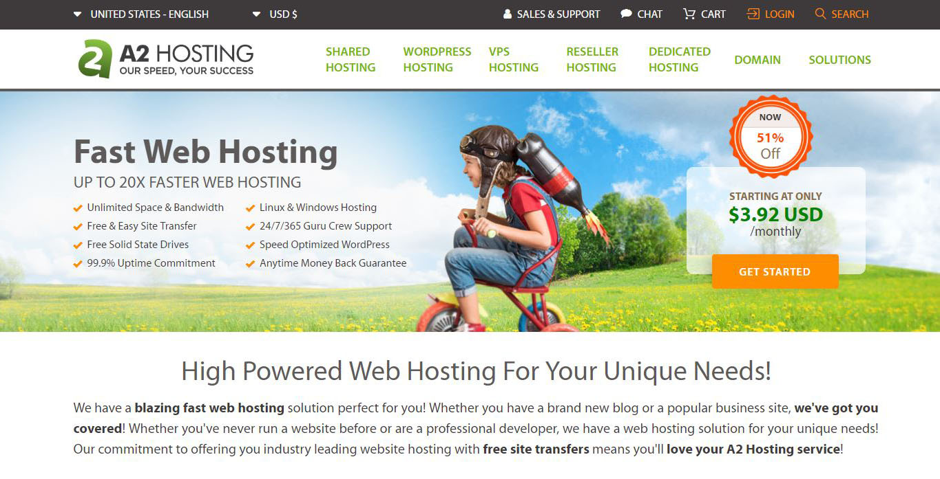A2 Hosting: 20X Faster Website Hosting