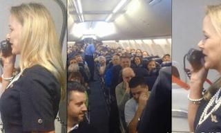 Aεροσυνοδός δίνει οδηγίες ασφάλειας και οι επιβάτες γελούν - Δείτε γιατί!