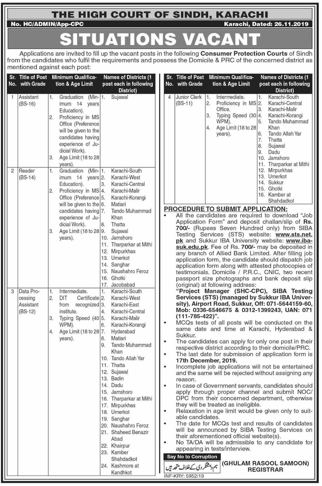 The High court of Sindh Jobs