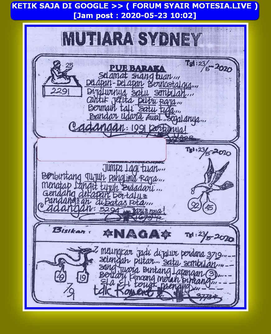Kode syair Sydney Sabtu 23 Mei 2020 32