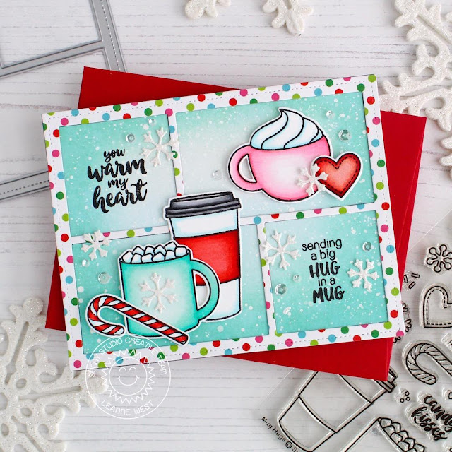 Sunny Studio Stamps: Comic Strip Speech Bubbles Dies Mug Hugs Winter Themed Card by Leanne West