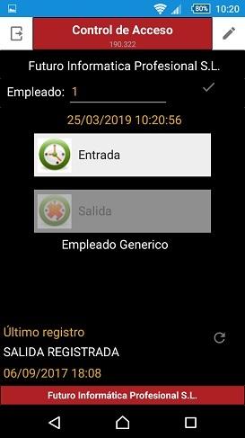 Imagen de la app para movil del registro de jornada laboral de los programas de faturacion