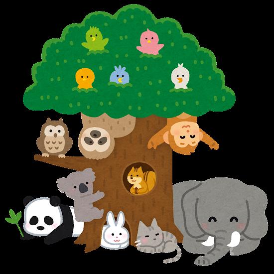大きな木に集まった動物たちのイラスト