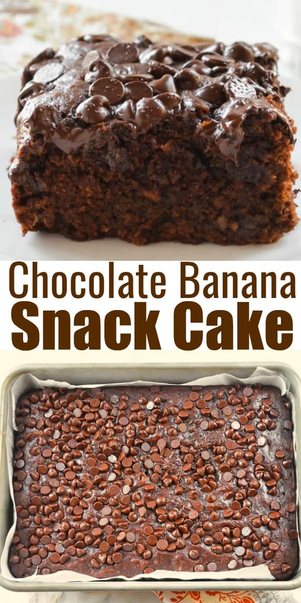 Easy Eggless Chocolate Banana Snack is a super easy moist chocolate cake recipe! Perfect for Brunch, or Dessert from Serena Bakes Simply From Scratch.