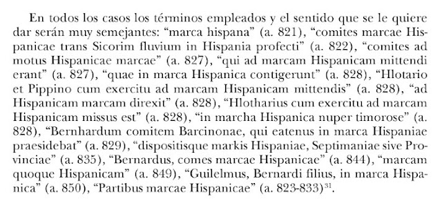 marca hispana, comites marcae Hispanicae trans Sicorim fluvium (SEGRE) in Hispania profecti, comites ad motus Hispanicae marcae, qui ad marcam Hispanicam mittendi erant, quae in marca Hispanica contigerunt, etc ...