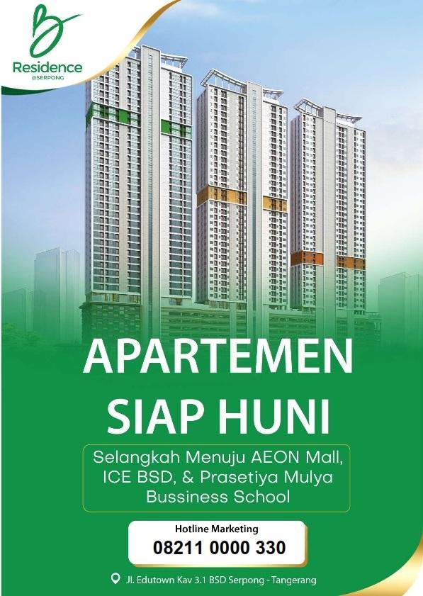 Apartemen B Residence, Apartement di Lokasi Edutown Harga Terjangkau di BSD City