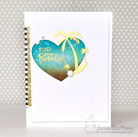 Palm Tree Sunset Card by Samantha Mann | Paradise Palms stamp set by Newton's Nook Designs #newtonsnook