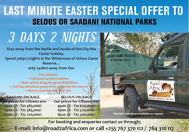 Easter tour Saadani Selous Road 2 africa