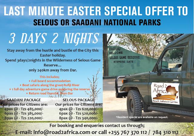 Easter tour Saadani Selous Road 2 africa