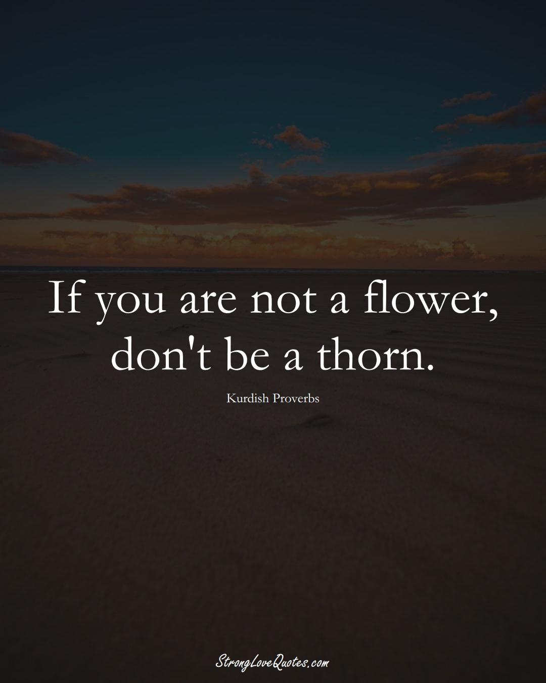 If you are not a flower, don't be a thorn. (Kurdish Sayings);  #aVarietyofCulturesSayings