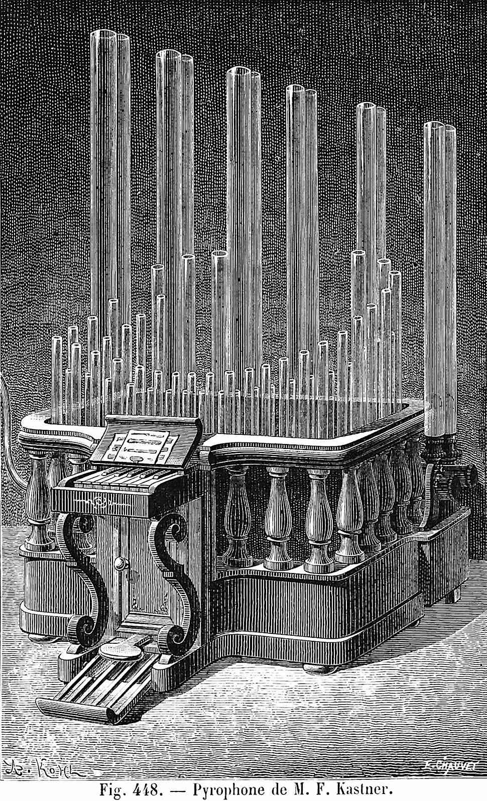 an 1881 Pyrophone by M.F. kastner, an instrument like an organ that played by lighting a fire in a glass tube