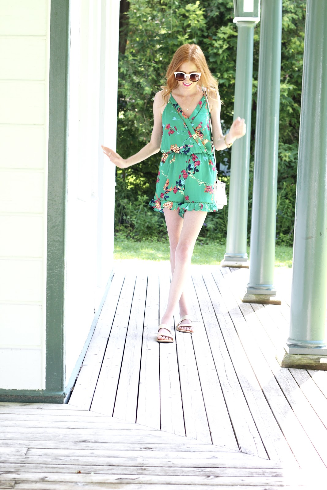 green floral romper, Rebecca Minkoff bucket bag, gold flat sandals; Summer Style