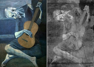 Pablo Picasso's The Old Guitarist painting created in 1903 and its X ray image via x ray fluorescence spectroscopy.
