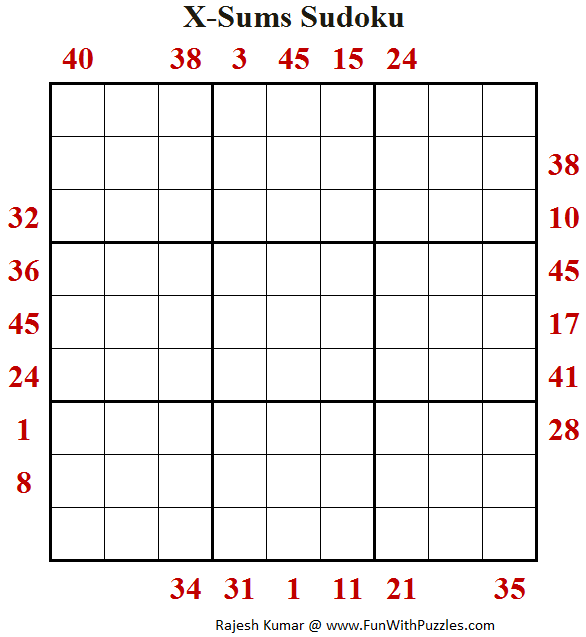 X-Sums Sudoku (Daily Sudoku League #154)