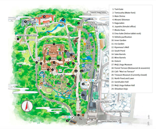 Mapa del Santuario Meiji en Tokio