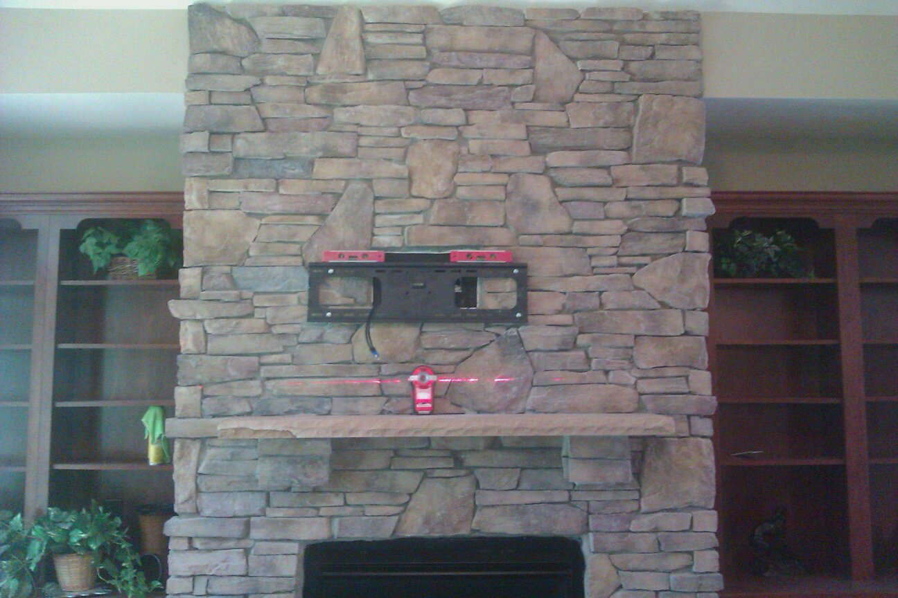 Charlotte tv mounting service and home theater - Tv wall mount over fireplace ...
