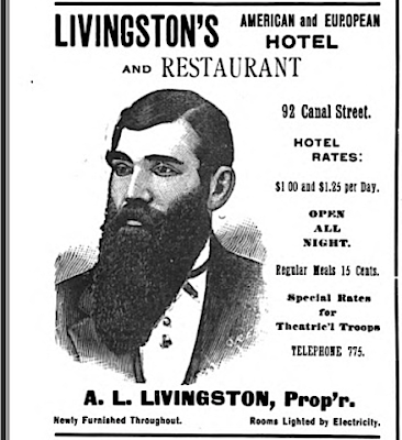 1894 Ad for Livingston's Hotel in Grand Rapids, Michigan