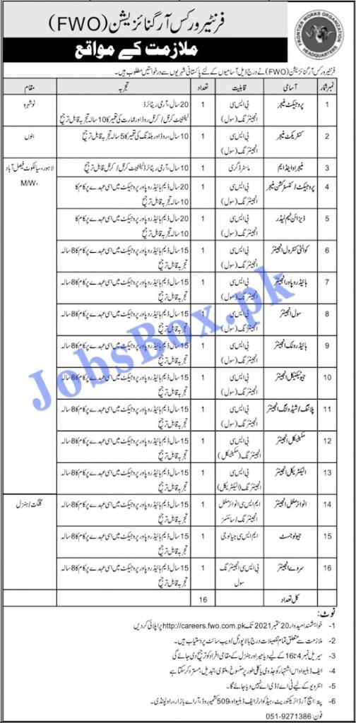https://careers.fwo.com.pk - FWO Frontier Works Organization Jobs 2021 in Pakistan