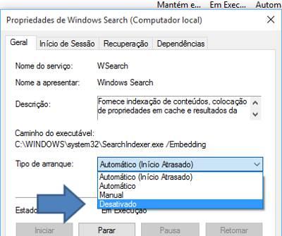 Desabilitar a Indexação de Pesquisa do Windows