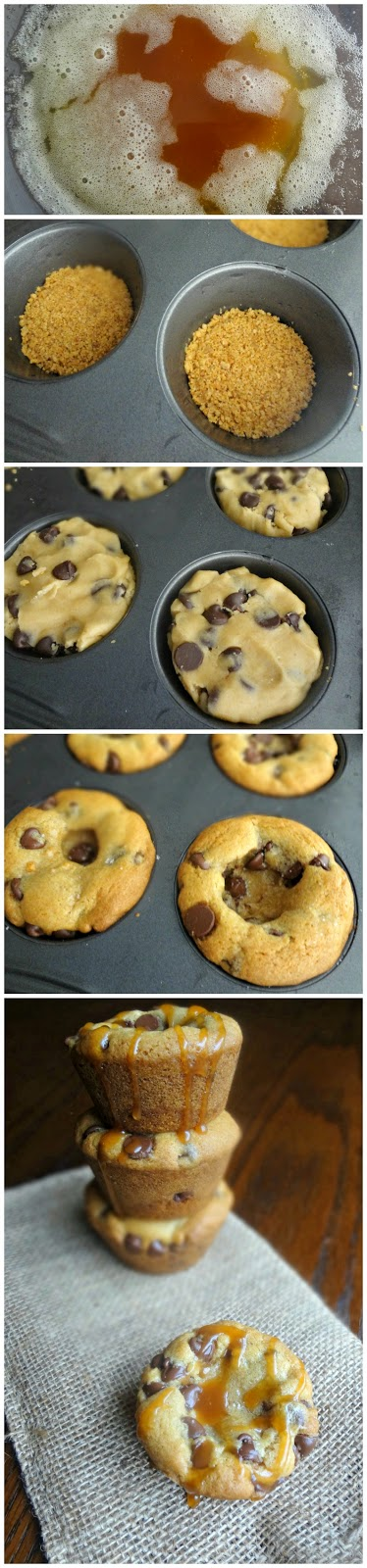 Browned Butter Salted Caramel Chocolate Chip Cookie Cups with Graham Cracker Crusts