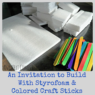 An invitation to build with styrofoam and colored craft sticks from And Next Comes L