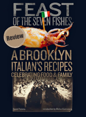 Book cover of Feast Of The Seven Fishes with old family photos and fish on the cover.