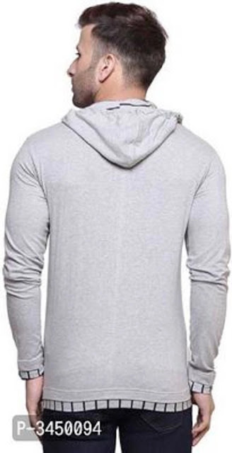 Men's Off White Cotton Hooded Tees