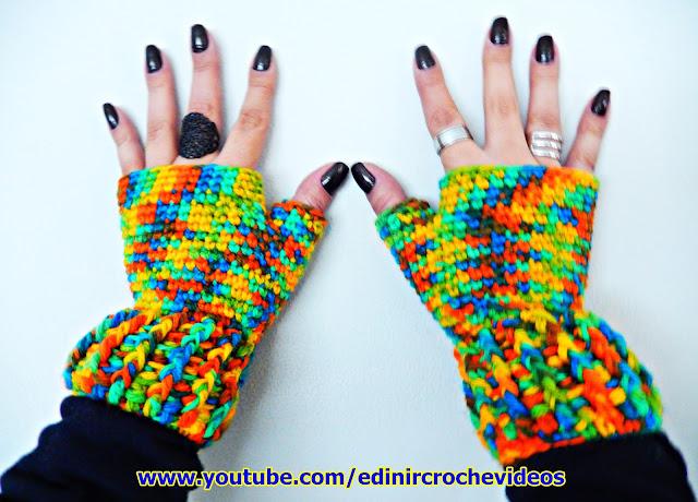 edinir croche ensina Luva de Croche sem dedos Inverno Folia Aprender Croche no curso de croche com edinir croche aprender croche