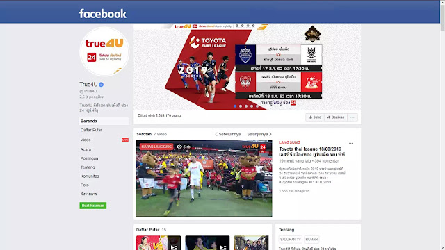 Streaming True4U di Fanspage Facebook